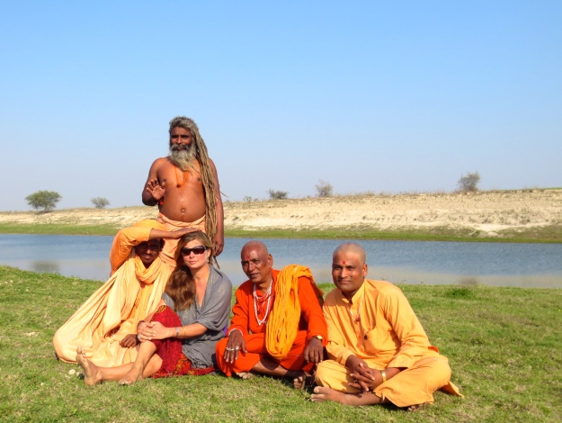 Being blessed by the Ganges.